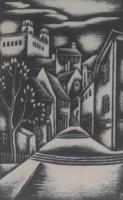 Lépcsős utcakép (fametszet 14,5x9,5 cm + keret) ismeretlen alkotó, jelzéssel, miniatűr