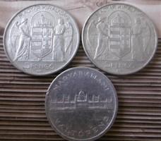 Magyar Királyság 5 Pengő 1943  és 5 Pengő  1945 T2