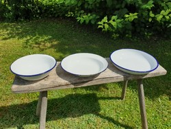 Vintage régi zománcos kék fehér zománcozott tányér mélytányér és tál tálca Bonyhád 3db