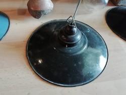 Zománc tányéros lámpák, bakelit foglalattal, loft, ipari