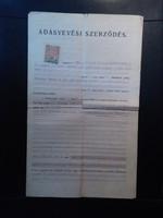 1927. Március 11. Orosháza Adásvételi Szerződés 1923-as 5000K-ás Illetékbélyeggel