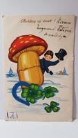 """Régi képeslap """"Boldog Új évet"""" üdvözlőlap, levelezőlap 1940"""