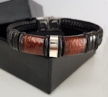 Óarany -fekete bőr karkötő