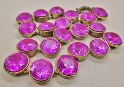 Fabulous old art deco pink crystal stone necklace and earrings