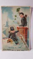 """Régi képeslap """"Boldog Új évet"""" üdvözlőlap, levelezőlap 1916"""