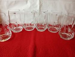 6 darab nagyon szép metszett üvegkorsó