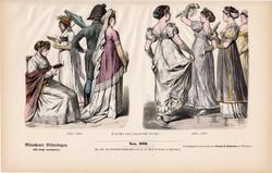 Viselettörténet (65), litográfia 1880, öltözet, ruha, divat, német, francia, polgár, 1802, 1809