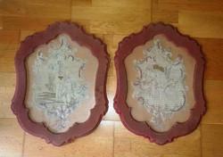 2 db antik gobelin, a XIX. század végéről, eredeti üvegezett keretben