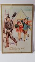 """Régi képeslap """"Boldog Új évet"""" üdvözlőlap, levelezőlap 1938"""