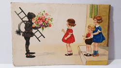 """Régi képeslap """"Boldog Újévet"""" üdvözlőlap, levelezőlap 1939"""