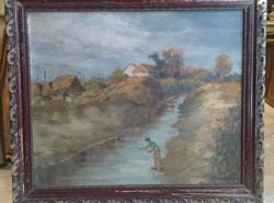 60 x 70 cm olaj festmány, karton j. j. l. ... 20 sz. Elejéről, patakmenti falu ábrázolás