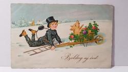 """Régi képeslap """"Boldog Új évet"""" üdvözlőlap, levelezőlap 1935"""