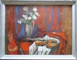 Papp Zoltán: Csendélet hegedűvel   60*80 cm