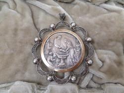 Antik ezüst keresztelőérem