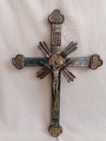 Különlegesen szép régi kereszt bronz Krisztussal