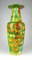 1F262 Iparművészeti csorgatott mázas retro kerámia váza 37.5 cm