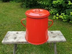 Zománcos régi vintage piros vas zománcozott kis fedeles bödön zsírosbödön