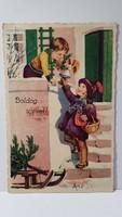 """Régi képeslap """"Boldog Újévet"""" üdvözlőlap, levelezőlap 1935"""