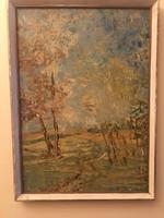 Érdekes stílusban meg festett szignózott tájkép .