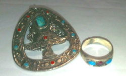 Old silver-plated (navaratna character) large stone ring with silver-plated pendant chain