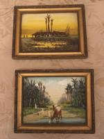 Veress Zoltán ( 1868-1935 ) 2 darab kisméretű antik festménye  .