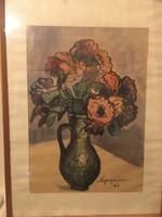 Nyergesi ( Nyerges ) János ( 1895-1982 ) akvarell csendélete 1961-ből .