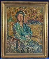 Szines hölgy portréja, ismeretlen festő, 1920-as évekből