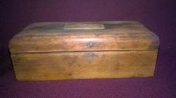 Régebbi , réz mérlegsúly készlet eredeti fa dobozában