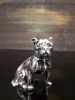 Ezüst Boxer kutya, smaragd szem berakással