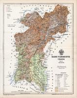 Bars vármegye térkép 1895 (3), lexikon melléklet, Gönczy Pál, 23 x 30 cm, megye, Posner Károly