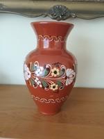 Régi mázas, 33 cm magas, nagyméretű festett kerámia váza