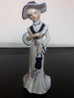 Capodimonte nápolyi porcelán Barokk hölgy kobaltkék-arany festéssel