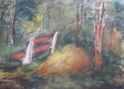 Bruschné Altai Ilona: Erdei táj (40x29 cm, hátoldalán csendélet)