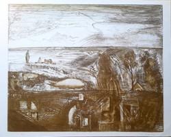 Kéri Imre -Táj 32 x 39 cm rézkarc
