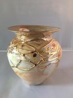 Segesdi Bori: Kerámia váza, kaspó, jelzett, hibátlan