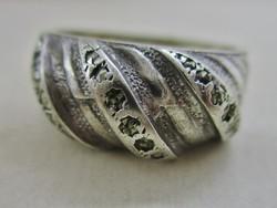 Régi szép magyar kézműves  ezüst gyűrű markazitokkal