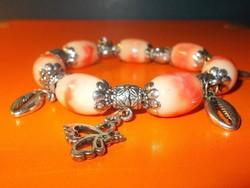 Márványos Gyöngy Tibeti Ezüst Karkötő - Pandora jellegű