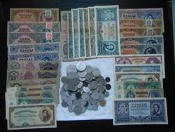 30 darab pengő bankjegy + 100 darab magyar fémpénz