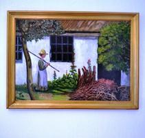 Megérkezés a tanyára 47 x 35 cm  /Nő gereblyével./