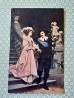 Régi képeslap művészi romantikus levelezőlap