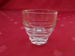 Arany csíkos üveg likőrös pohár, magassága 4 cm. Vanneki!