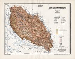 Lika - Krbava vármegye térkép 1895 (1), lexikon melléklet, Gönczy Pál, 23 x 30 cm, megye, Posner K.