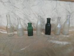Régi kis üveg palackok, 7db