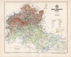 Heves vármegye térkép 1894 (4), lexikon melléklet, Gönczy Pál, 23 x 29 cm, megye, Posner Károly