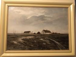Csáky Lajos  ( 1950- ) Tanyabejárat című olajfestménye .