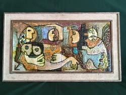 Exkluzív ritkaság! Bakó-Hetei Rozália csurgatott üvegmázas kerámia csempe faliképe 60x30cm
