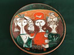 """Exkluzív """"három grácia"""" repesztett mázas kerámia fali tál 29 cm"""