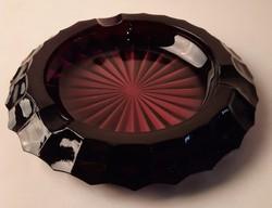 Retro cseh sötét lila öntött üveg hamutál, tálka