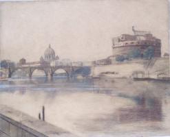 Koszkol Jenő (1868-1935): A római Castel Saint'Angelo látképe