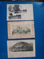 3 db budapesti képeslap , 1910 előtti. Vígszinház, Erzsébet-híd, Szabadság -tér